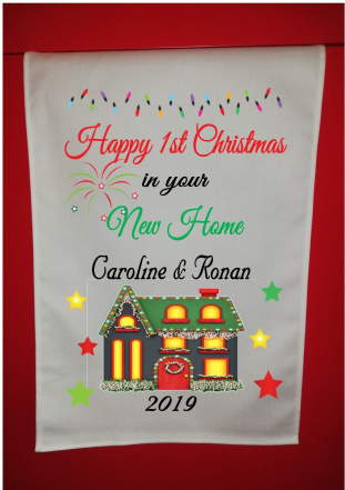 Personalised First Christmas in New Home Tea Towel